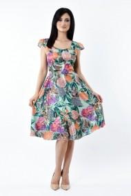 Rochie de zi Lille Couture 19RZM 041 din matase sintetica Liana floral
