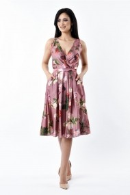 Rochie de zi Lille Couture 19RZM 043 din matase sintetica Sofia floral