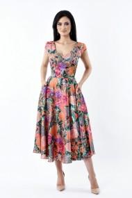 Rochie de zi Lille Couture 19RZL 021 din matase sintetica Roxy muticolor