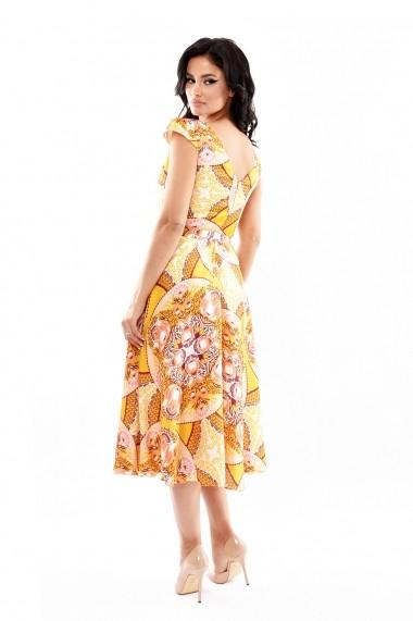 Rochie de zi Lille Couture 19RZL 022 din matase sintetica Roxy Galbena