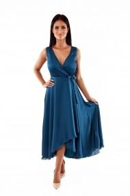 Rochie de seara lunga Lille Couture Rita din voal creponat Albastru petrol