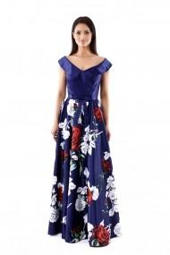 Rochie de seara lunga Lille Couture din tafta floral
