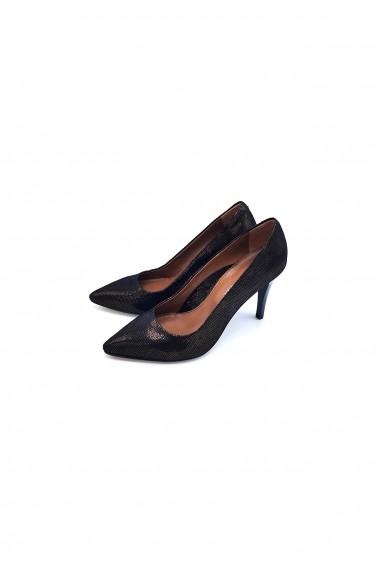 Pantofi cu toc din piele Torino 694-2 Negri