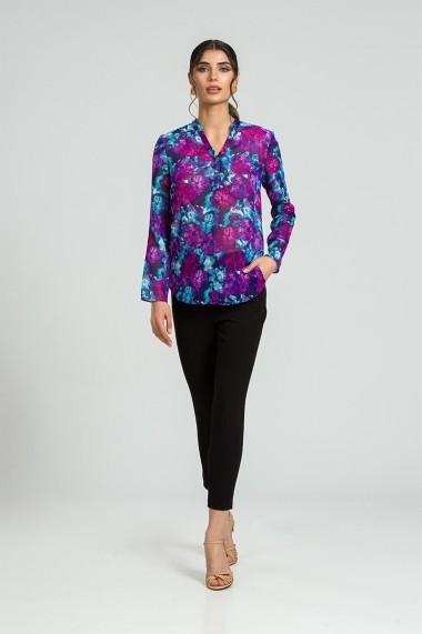 Bluza eleganta cu guler tunica si nasturi DM182 floral