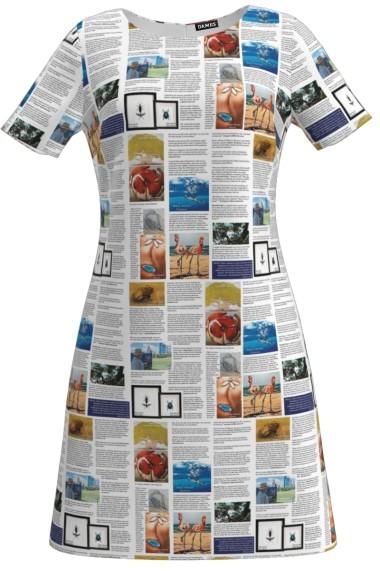 Rochie evazata ziar color imprimata digital CMD128
