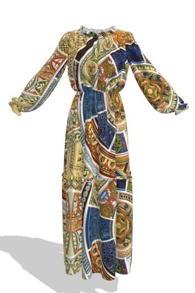 Rochie eleganta lunga de vara imprimata digital OL15