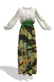 Rochie eleganta lunga de vara imprimata digital OL16