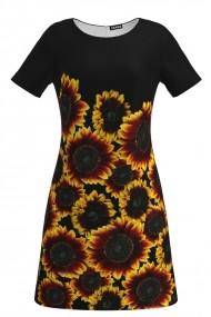 Rochie evazata imprimata digital Floarea Soarelui CMD140
