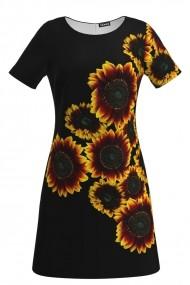 Rochie evazata imprimata digital Floarea Soarelui CMD141