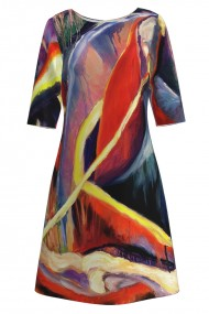 Rochie casual cu maneca imprimata digital abstract colorat CMD152