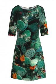 Rochie casual cu maneca imprimata digital floral Cactusi CMD191