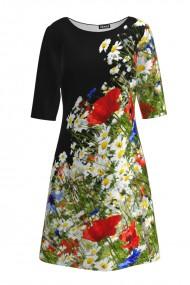 Rochie casual cu maneca imprimata digital Flori de Cimp CMD192