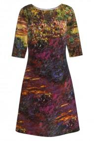 Rochie casual cu maneca imprimata digital model floral CMD155