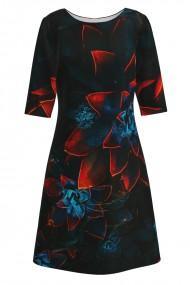 Rochie casual cu maneca imprimata digital model floral CMD158