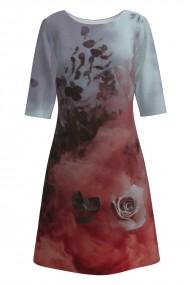 Rochie casual cu maneca imprimata digital model floral CMD159