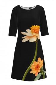 Rochie casual cu maneca imprimata digital floral Crizanteme CMD195