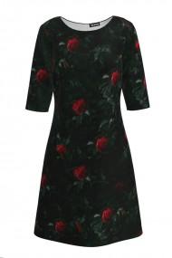 Rochie casual cu maneca imprimata digital trandafiri CMD160