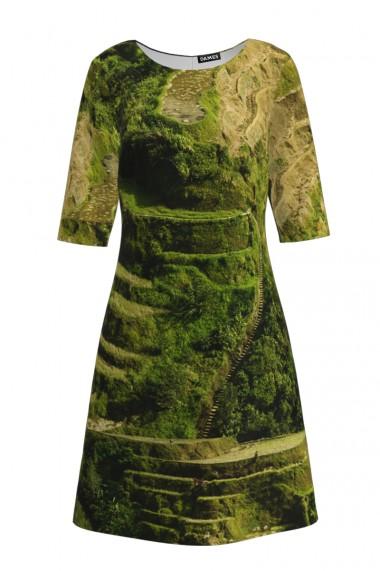 Rochie casual cu maneca imprimata digital Machu Picchu CMD161