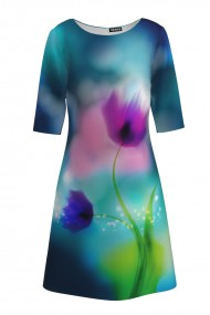 Rochie casual cu maneca imprimata digital floral Lalele CMD196