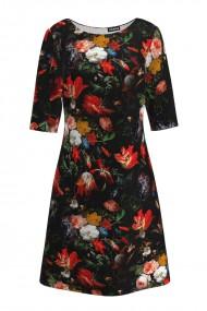 Rochie casual cu maneca imprimata digital floral Multicolora CMD197