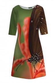 Rochie casual cu maneca imprimata digital realist Fluture CMD198