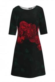 Rochie casual cu maneca imprimata digital trandafiri CMD167