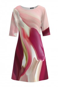 Rochie casual cu maneca imprimata digital abstract CMD168