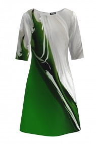 Rochie casual cu maneca imprimata digital abstract Verde CMD203