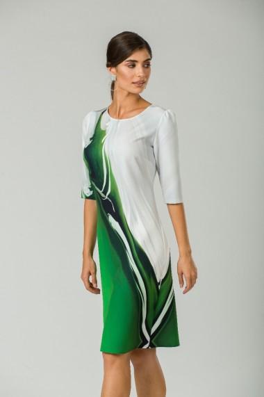 Rochie casual cu maneca imprimata digital abstract Verde CMD203