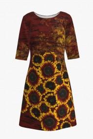 Rochie casual cu maneca imprimata digital floral Floarea soarelui CMD208