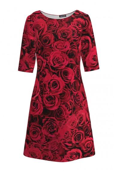 Rochie casual cu maneca imprimata digital floral Trandafiri CMD209