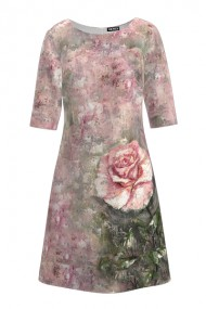Rochie casual cu maneca imprimata digital floral Trandafir CMD213
