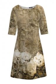 Rochie casual cu maneca imprimata digital floral Bujori CMD214