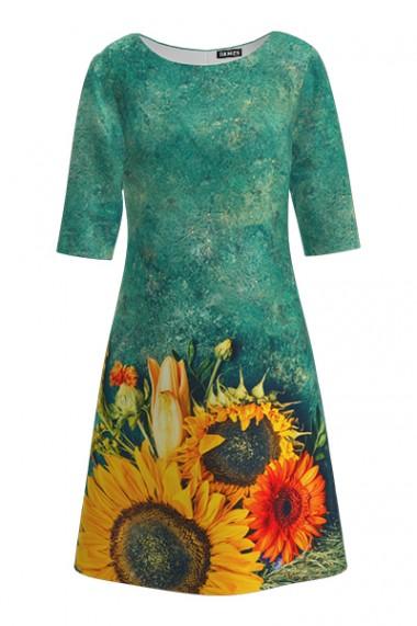 Rochie casual cu maneca imprimata digital Floarea soarelui CMD216