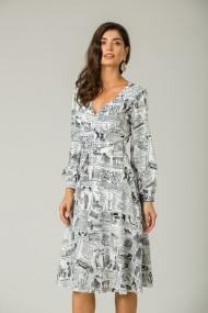 Rochie eleganta imprimata Ziar cu maneca lunga CMD218