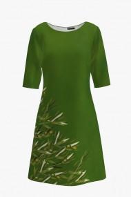 Rochie casual cu maneca imprimata digital Ramuri de maslin CMD222