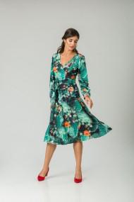 Rochie eleganta cu maneca lunga imprimata Flori de cactus CMD228