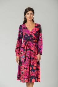 Rochie eleganta cu maneca lunga imprimata Abstract Fucsia CMD231