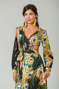 Rochie eleganta cu maneca lunga imprimata Paun CMD232