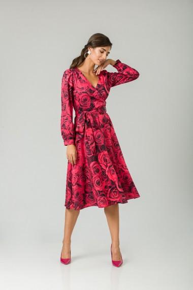 Rochie eleganta cu maneca lunga imprimata Trandafiri CMD233