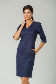 Rochie casual bleumarin cu buzunare CMD241