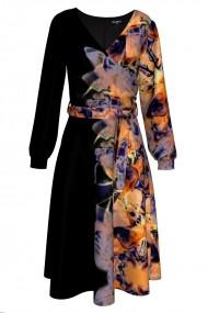 Rochie eleganta cu maneca lunga imprimata Abstract CMD314