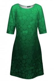 Rochie casual imprimata degrade verde de Craciun CMD323