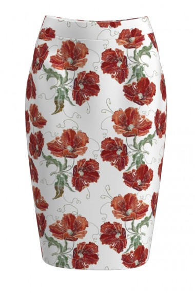 Fusta alba conica imprimata cu model floral CMD394