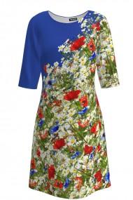 Rochie casual albastra imprimata digital Flori de camp CMD445