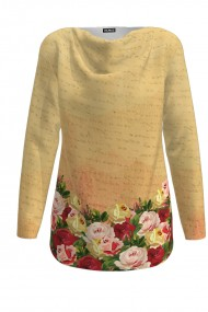 Pulover delicat imprimat digital cu Trandafiri CMD382