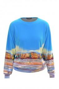 Bluza bleu tip hanorac din catifea CMD426