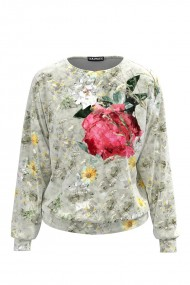 Bluza gri tip hanorac din catifea cu print floral CMD427