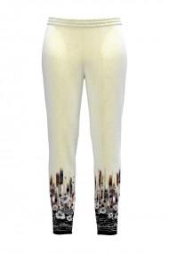 Pantaloni albi din catifea cu buzunare CMD434