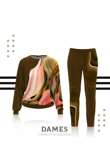 Pantaloni kaki cu imprimeu abstract din catifea cu buzunare CMD461